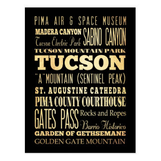Tuczon City of Arizona State Typography Art Postcard