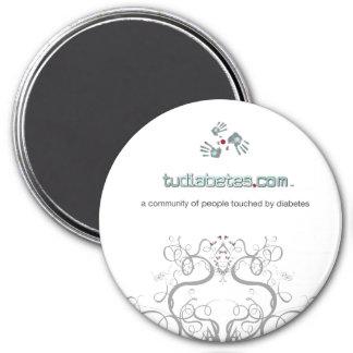 TuDiabetes.com  Round Magnet |White Line|