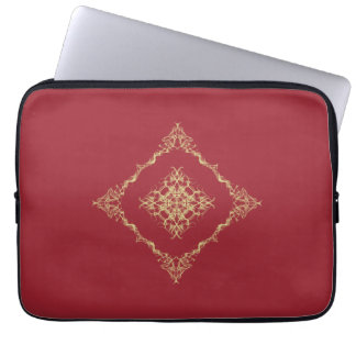 Tudor Inspired Gold and Red Fractal 13 Inch Computer Sleeve