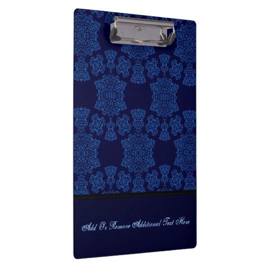 Tudor Rose Damask  (Blue) (Monogram) Clipboards