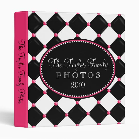 Tufted Harlequin Pink and Black Photo Album Binder