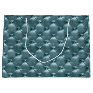 Tufted Leather Metallic Tiffany Aquatic Blue Large Gift Bag