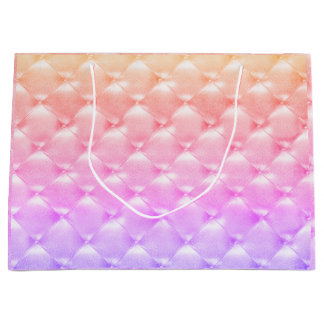 Tufted Leather Rainbow Ombre Pink Glam Luxury Large Gift Bag