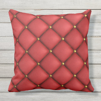 Tufted Red And Gold Throw Pillow