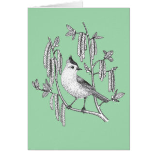 tufted titmouse bird in willow tree greeting card