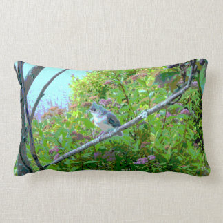 Tufted Titmouse Fledgling Baby Bird Lumbar Pillow