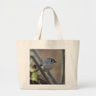 Tufted titmouse large tote bag