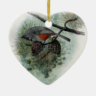 Tufted Titmouse Perched on a Pinecone Ceramic Ornament