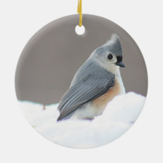 Tufted titmouse photo ceramic ornament