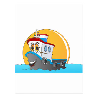 Tug Boat Cartoon Postcard