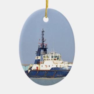 Tug Boat Mercia Ceramic Oval Ornament