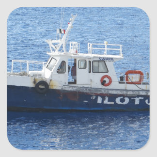 Tug Boat on Blue Water Square Sticker