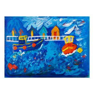 Tug boats at sea acrylic painting by Kay Gale Poster