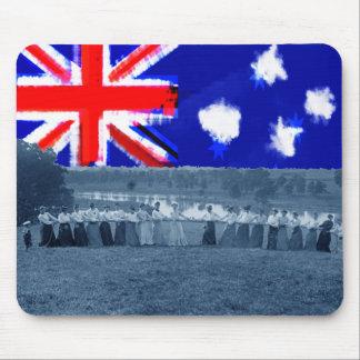 Tug of War Tug O War Women 1890's Australia Flag Mouse Pad