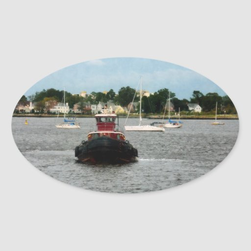 Tugboat Bow Norfolk VA Oval Stickers