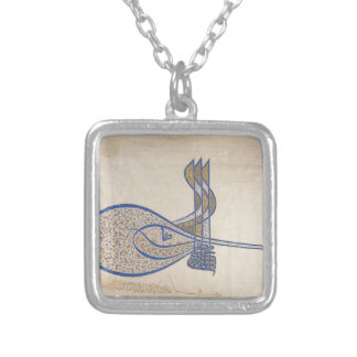 Tughra (Official Signature) of Sultan Süleiman Silver Plated Necklace