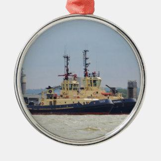 Tugs Cecilia and Brunel Silver-Colored Round Ornament