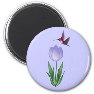 Tulip and Hummingbird Magnet