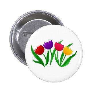 Tulip Blooms 2 Inch Round Button