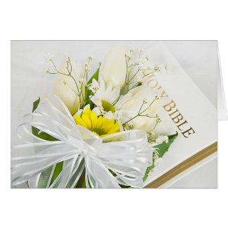 Tulip Bouquet on Wedding Bible Greeting Card