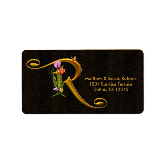 Tulip Butterfly Monogram R Address Labels
