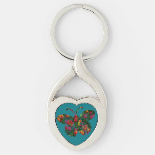 Tulip butterfly Silver-Colored twisted heart keychain