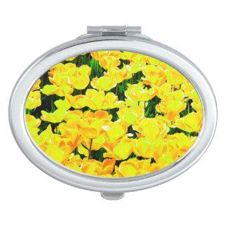 Tulip field - golden yellow compact mirror