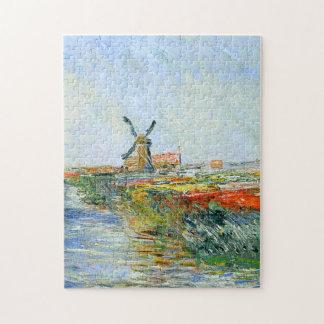 Tulip Field in Holland Monet Fine Art Jigsaw Puzzle