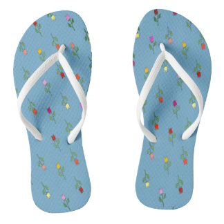 Tulip Floral Blue Romantic Tender Girly Nostalgic Flip Flops