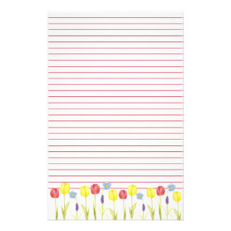 Tulip Flower Garden Red Lined Stationery Paper
