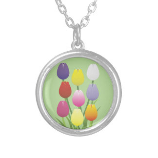 Tulip Flower Silver Plated Necklace