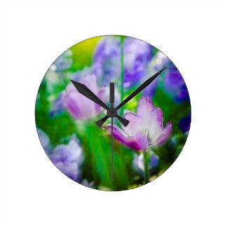 Tulip garden, Giverny, France Round Clock