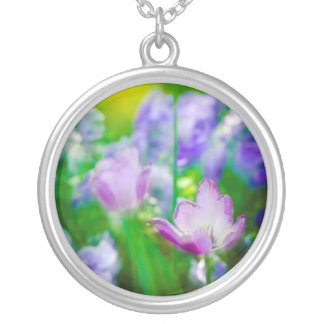 Tulip garden, Giverny, France Silver Plated Necklace
