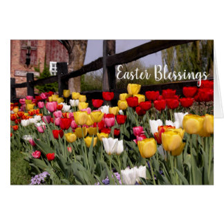 Tulip Garden Happy Easter Blessings Card