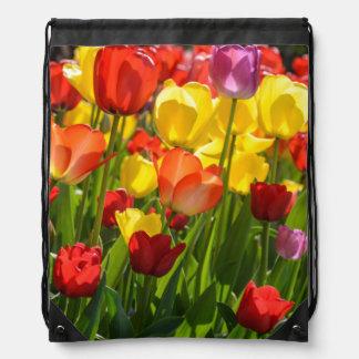 Tulip Garden in the Spring Drawstring Bag