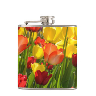 Tulip Garden in the Spring Hip Flask