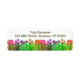 Tulip Garden Rainbow Customizable Return Address Label