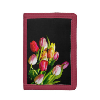 Tulip Painting - Original Flower Art Tri-fold Wallet