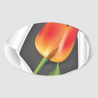 tulip-paper-vector oval stickers