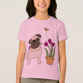 Tulip Pug and Butterfly Tees for Kids and Adults