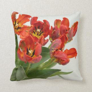 Tulip red Throw Pillow