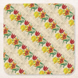 tulip songs square paper coaster