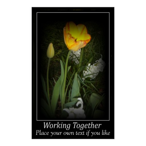 Tulip spring garden working together Motivation Poster
