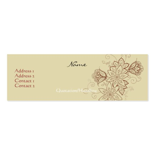 Tulip tattoo profile cards sand business card templates for Business card size tattoos