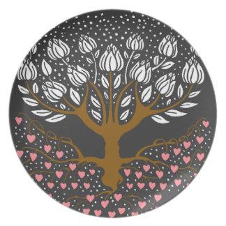 Tulip Tree With Hearts Black Dinnerware Plate