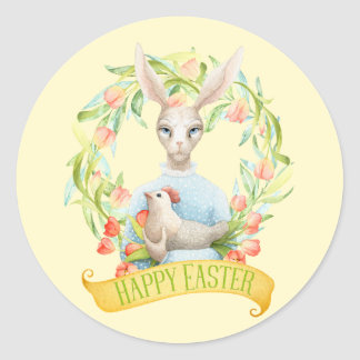 Tulip Wreath and Rabbit Happy Easter Classic Round Sticker