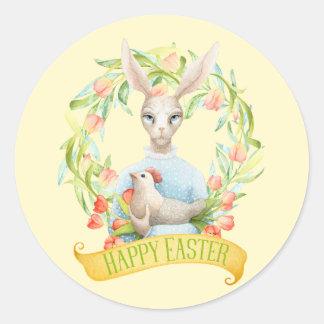 Tulip Wreath and Rabbit Happy Easter Round Sticker