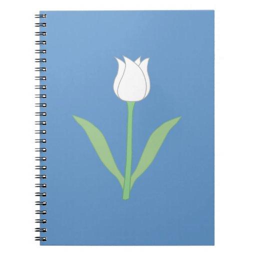 Tulipe blanche sur le bleu carnets à spirale
