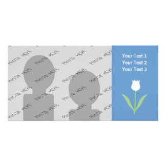 Tulipe blanche sur le bleu photocarte personnalisée