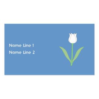 Tulipe blanche sur le bleu cartes de visite professionnelles